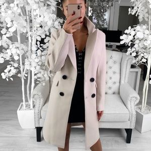 Victoria Long Coat in Almond ekAttire